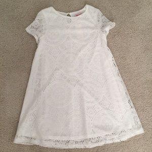 OASAP White Lace Shift Dress